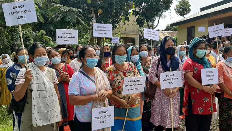 Manipur: Anganwadi workers of Kangpokpi protest the transfer of Child Development Officer