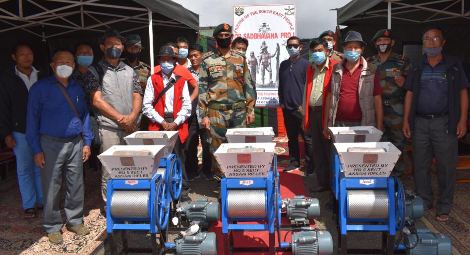Nagaland: Assam Rifles distributes coffee pulping machines to farmers