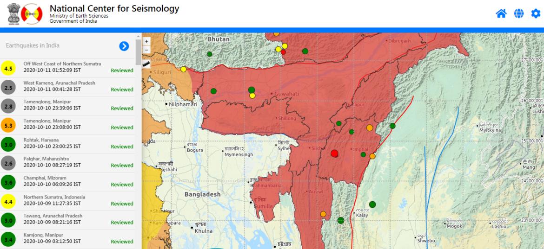 Earthquake in Manipur measuring M 5.3 near Bishnupur. Tremors felt across North East