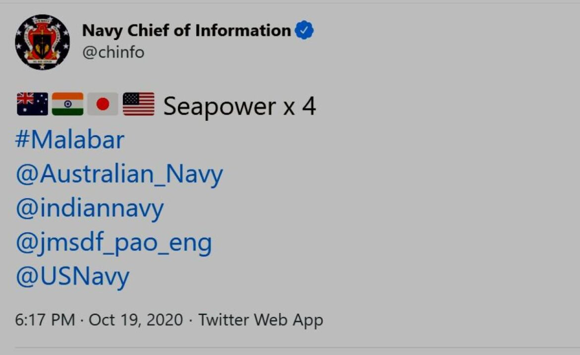 Seapower x 4: US Navy's Tweet On Malabar Naval exercise  goes Viral
