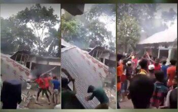 bangladesh radical muslims vandalise and burn houses of several hindu families for a facebook post praising french president macron