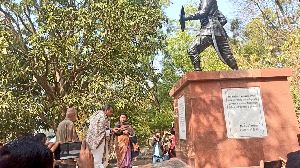 Dr Sambit Patra offer tributes to Paona Brajabashi at historic Khongjom War Memorial