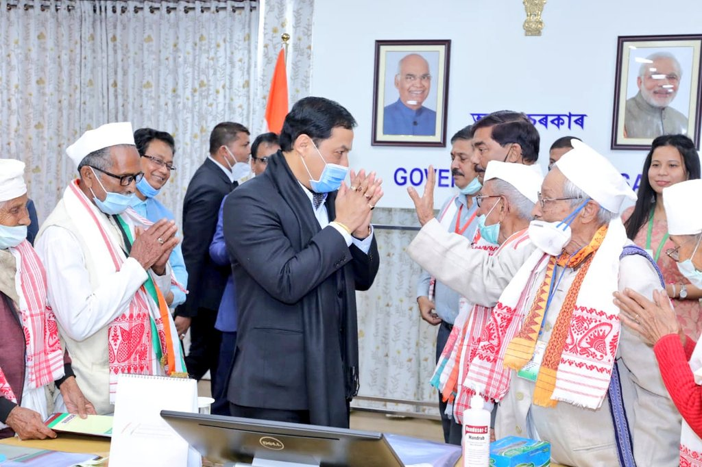 Assam CM Sonowal increases Pension for Freedom fighters. To provide free medical treatment